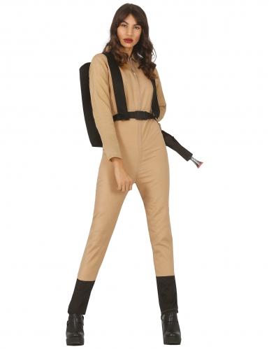 Geisterjägerin-Kostüm für Damen Halloweenkostüm beige-schwarz