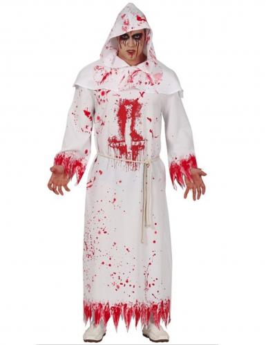 Blutiges Mönchkostüm für Herren Halloween-Kostüm weiss-rot