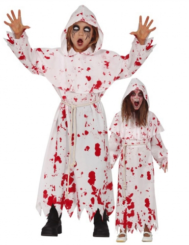 Blutiges Mönchkostüm für Kinder Halloweenkostüm weiss-rot