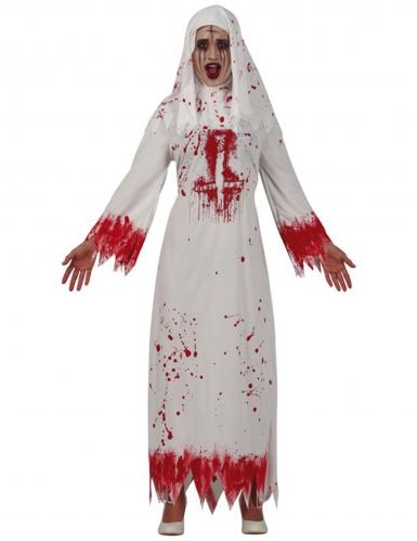 Blutiges Nonnen-Kostüm für Damen Halloween-Kostüm weiss-rot