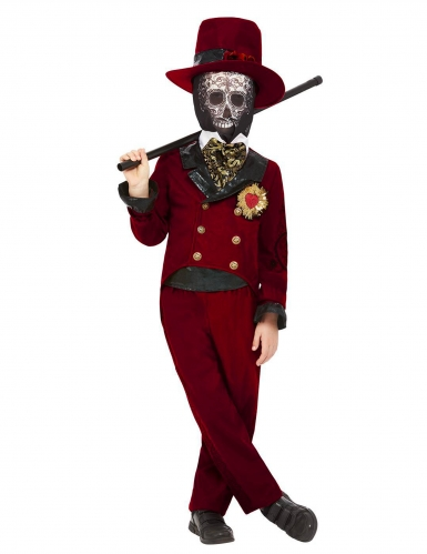 Tag der Toten-Bräutigam-Kostüm für Jungen Halloweenkostüm rot-schwarz