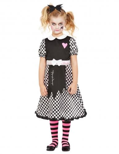 Schaurig-süsses Puppen-Kostüm für Mädchen Halloweenkostüm schwarz-weiss