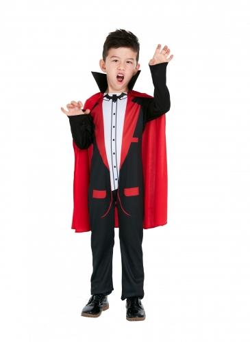 Schickes Dracula-Kostüm für Kleinkinder schwarz-rot-weiß