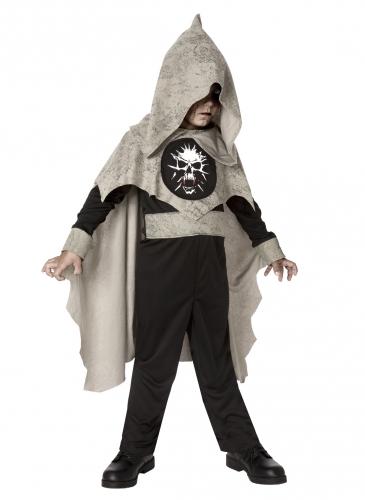 Mystisches Skelett-Kostüm mit Umhang für Kinder schwarz-grau-weiß