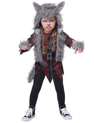 Schauriges Werwolf-Kostüm für Mädchen Halloween-Kostüm grau-rot-schwarz