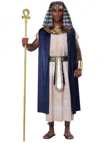 Ägyptischer Priester Herrenkostüm für Karneval weiß-blau-goldfarben