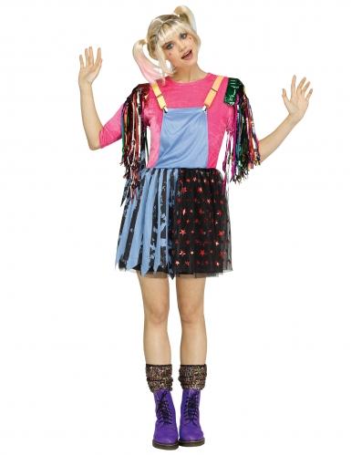 Freche Superschurkin Damenkostüm blau-pink-schwarz