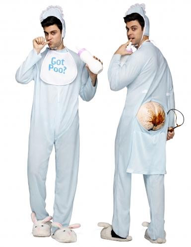 Witziges Baby-Kostüm für Erwachsene Faschingskostüm blau-weiss