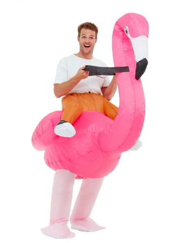 Aufblasbares Flamingo-Kostüm für Erwachsene Faschingskostüm pink-weiss
