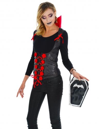 Sarg-Handtasche Vampir-Accessoire Halloween schwarz-silbern