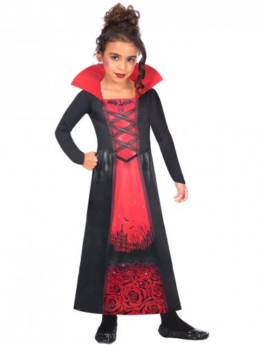Vampir-Kostüm für Mädchen Halloween-Kostüm schwarz-rot