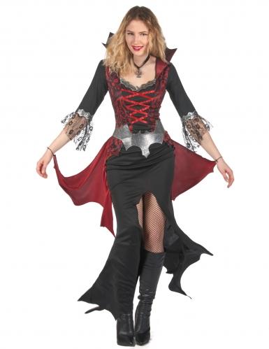 Elegantes Barock-Vampirkostüm für Damen schwarz-rot-grau