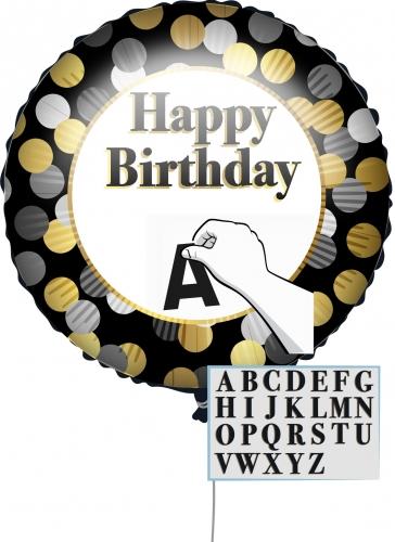 Personalisierbarer Happy Birthday Aluminiumballon Geburtstags-Deko schwarz-goldfarben-weiß 43 cm