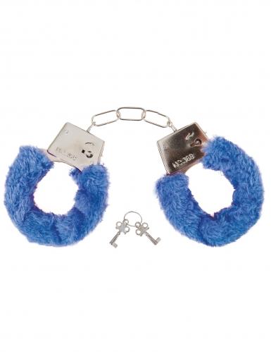 Flauschige Handschellen für Erwachsene blau-silberfarben