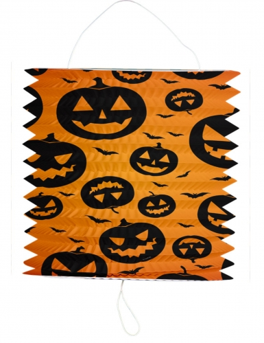Halloween Kürbis-Laterne, orange, schwarz, 16 x 22 cm