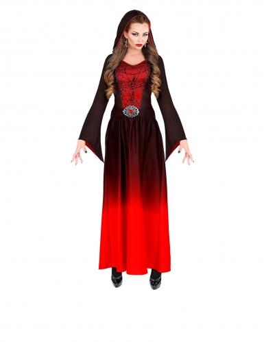 Gothic Vampirherrin Damenkostüm für Halloween schwarz-rot