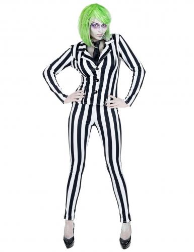 Beetle-Geisterfrau Damenkostüm schwarz-weiß