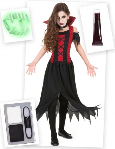 Vampirkostüm-Set für Mädchen 4-teilig schwarz-rot