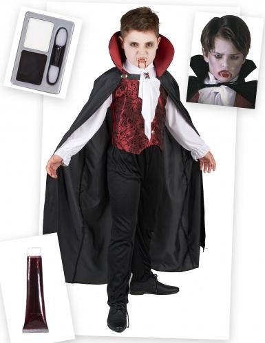 Vampir-Kostümset für Kinder Halloween-Kinderkostüm 4-teilig schwarz-weiss-rot