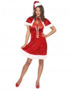 Weihnachtsfrau Nikolaus-Damenkostüm in Samt-Optik rot-weiss