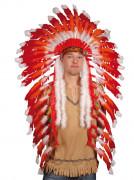 Indianerhäuptling-Federschmuck Kostüm-Accessoire rot-weiss