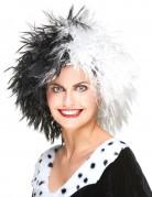 Cruella-Perücke Pantomimen-Perücke schwarz-weiss