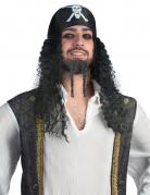 Piraten-Herrenperücke mit Kopftuch schwarz-weiss