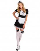 Sexy Zimmermädchen Kostüm für Frauen schwarz-weiß