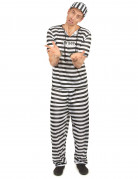Gefängnis-Insasse Kostüm Sträfling schwarz-weiss