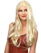 Hippieperücke mit Perlen-Strähnen blond