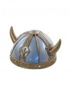 Wikinger-Helm mit Hörnern und Verzierungen grau-gold