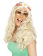 Hippie Girl Perücke mit Blume blond