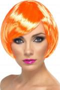 Neon Perücke Pagenschnitt 80er Party orange