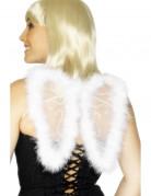 Engelsflügel mit Pelzrand und Spitze Kostüm-Accessoire weiss