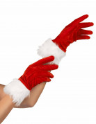 Weihnachtsfrau Handschuhe rot-weiss