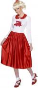 Rock'n' Roll Kleid Damenkostüm weiss-rot