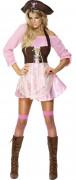Piratin Damenkostüm rosa-braun
