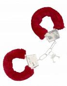 Fell-Handschellen Party-Accessoire rot