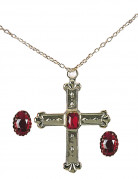 Kardinal Schmuck-Set Kreuzkette und Ringe rot