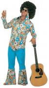 Hippie-Anzug Flower Power 60er-Outfit blau-braun-beige