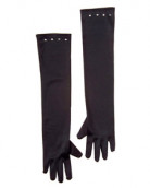 Lange Handschuhe Satin-Optik für Kinder schwarz