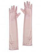 Lange Handschuhe Satin-Optik für Kinder rosa