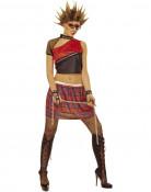 Punk Damenkostüm rot