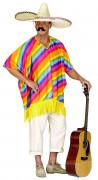 Mexikaner-Kostümoberteil Regenbogen-Poncho bunt