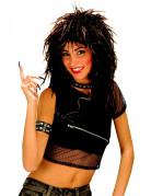 80er-Jahre Rockstar Groupie Perücke schwarz
