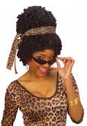 Afro Perücke mit Haarband und Brille schwarz-braun