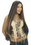 Extralange Perücke mit Strähnen braun-blond