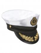 Kapitän-Mütze weiss-schwarz