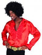 Disco-Erwachsenenhemd 70er-Jahre-Männerhemd rot