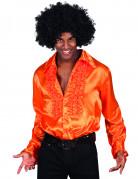 70er Jahre Disco Herrenhemd Kostüm-Accessoire orange